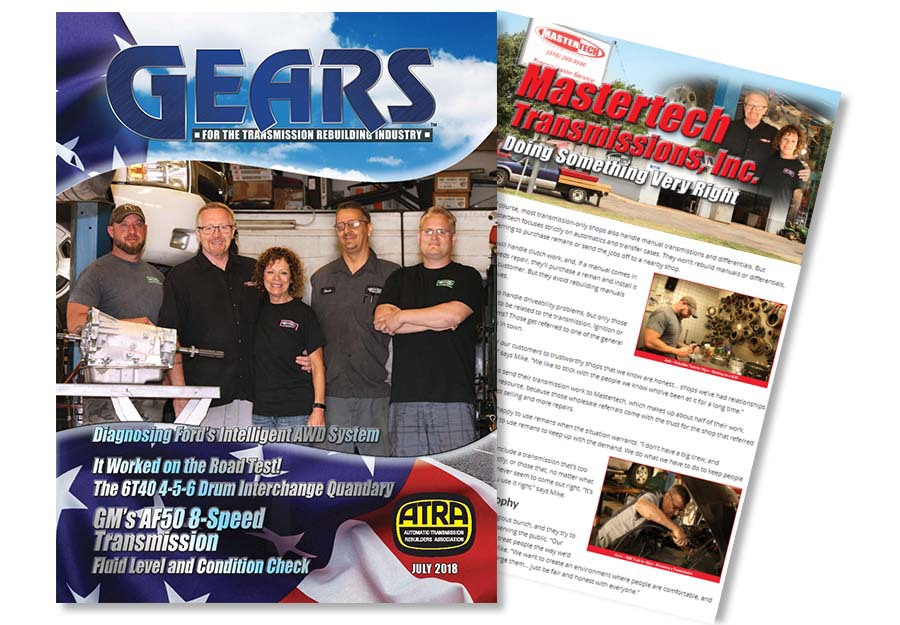 Photo of the Mastertech Transmission team featured on the cover of GEARS magazine
